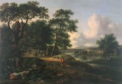 Landscape with Huntsman and Dogs | Jan Wijnants | Oil Painting
