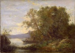 Girl in a Boat   Jean Baptiste Camille Corot   Oil Painting