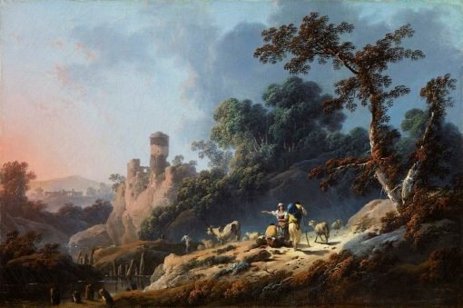 Landscape with Travellers and a Ruin | Jean Pillement | Oil Painting
