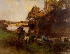 River Scene with Five Figures and a Boat | LEon Augustin Lhermitte | Oil Painting