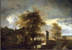 Landscape with Washerwomen | Meindert Hobbema | Oil Painting