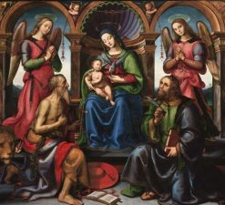 Madonna Enthroned with Saints and Angels | Raffaellino del Garbo | Oil Painting