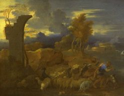 Landscape with Shepherd Leading His Flock | SEbastien Bourdon | Oil Painting