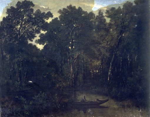 Landscape with a Boat in the Foreground   ThEodore Rousseau   Oil Painting