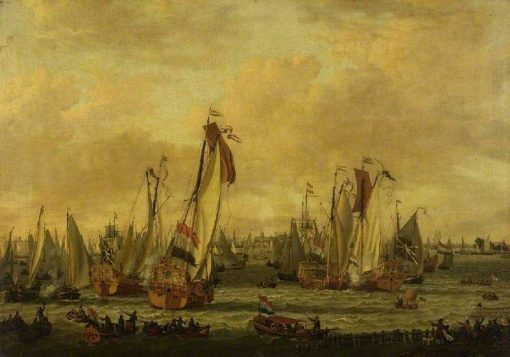 A Marine Sham Fight on the Y Before Amsterdam | Abraham Jansz. Storck | Oil Painting
