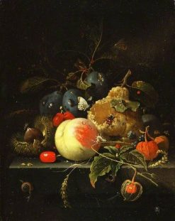 Fruit and Nuts on a Stone Ledge   Abraham Mignon   Oil Painting