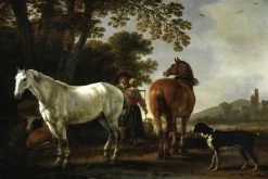 Landscape with Figures and Horses | Abraham van Calraet | Oil Painting