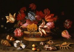 A Basket of Flowers with Shells on a Ledge | Balthasar van der Ast | Oil Painting