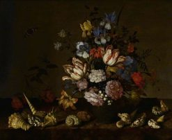 A Vase of Flowers with Shells on a Ledge | Balthasar van der Ast | Oil Painting