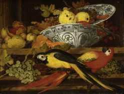 Still Life with Fruit and Macaws | Balthasar van der Ast | Oil Painting