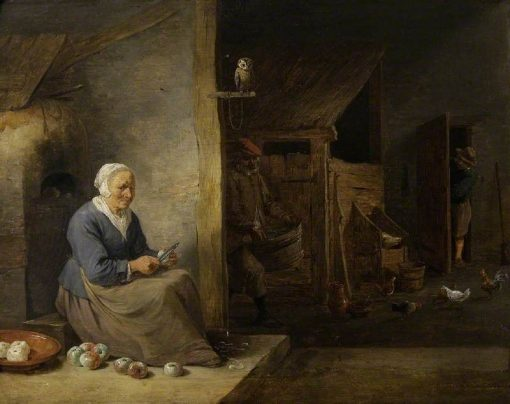 Interior with an Old Woman Peeling Apples | David Teniers II | Oil Painting