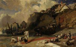Washerwomen on the Shore | Eugene Isabey | Oil Painting
