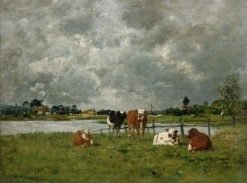 Cows in a Field under a Stormy Sky | Eugene Louis Boudin | Oil Painting