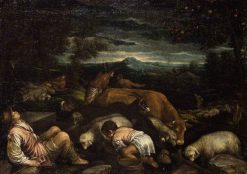 Landscape with Shepherds   Francesco Bassano the Younger   Oil Painting