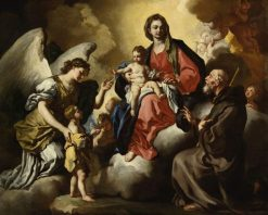 The Virgin and Child with a Boy Presented by His Guardian Angel and S. Francesco di Paola | Francesco Solimena | Oil Painting