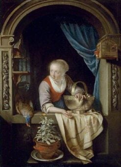 Woman at a Window with a Copper Bowl of Apples and a Cock Pheasant | Gerrit Dou | Oil Painting