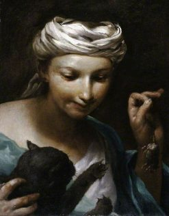 Girl with a Cat | Giuseppe Maria Crespi | Oil Painting