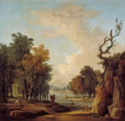 Wooded River Landscape with a Traveller