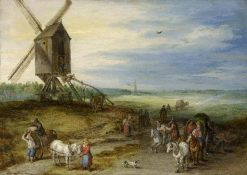 Landscape with Mill and Carts | Jan Brueghel the Elder | Oil Painting