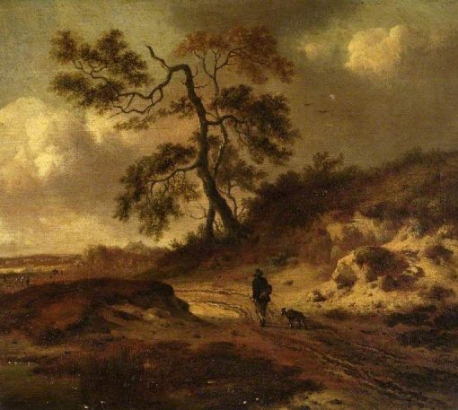Landscape with a Man and an Dog | Jan Wijnants | Oil Painting
