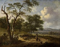 Landscape with a Woman and a Dog | Jan Wijnants | Oil Painting