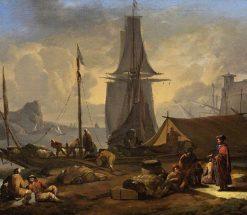 A Port Scene | Johannes Lingelbach | Oil Painting