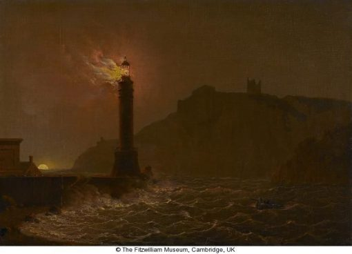 A Lighthouse on Fire at Night | Joseph Wright of Derby | Oil Painting