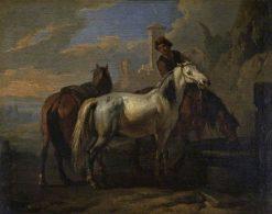 Horses Drinking at a Fountain | Pieter van Bloemen | Oil Painting
