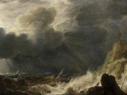 Storm with a Wreck | Simon de Vlieger | Oil Painting