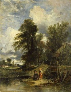 Millpond with Children Fishing | William James Muller | Oil Painting