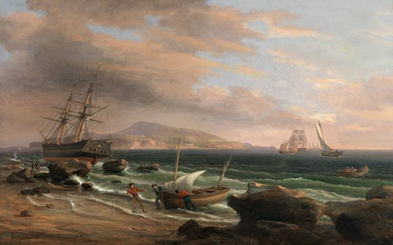 A Broad Harbor   Thomas Birch   Oil Painting