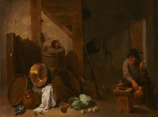 Kitchen Interior with a Toper and Other Peasants Beyond | David Teniers II | Oil Painting