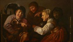 A Group of People Teasing a Dog with a Cat | Jan Miense Molenaer | Oil Painting
