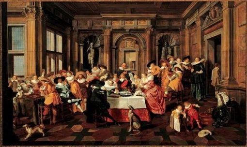 Festive Company in a Renaissance Room   Dirck van Delen   Oil Painting