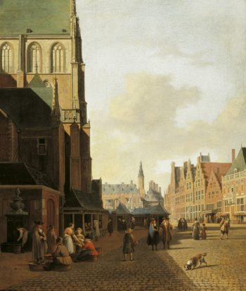 The Fish Market in Haarlem looking towards the Town Hall | Gerrit Adriaensz.Berckheyde | Oil Painting