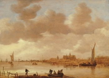 River Landscape with a Town in the Background | Jan van Goyen | Oil Painting