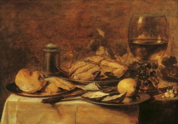 Still Life with Crab and Oysters | Pieter Claesz | Oil Painting