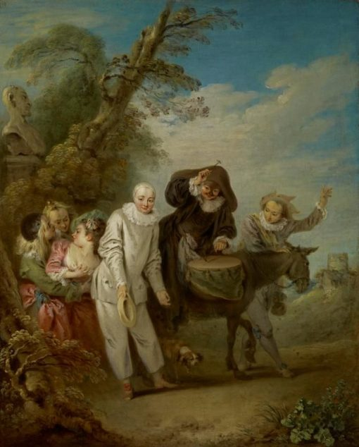 Procession of Italian Comedians   Jean Baptiste Pater   Oil Painting