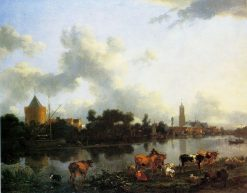 View of Loenen aan de Vecht with Cronenburch Castle | Nicolaes Berchem | Oil Painting