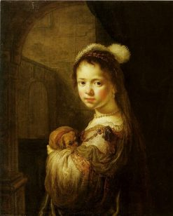 Girl in a Fantasy Costume with a Dog   Govaert Flinck   Oil Painting