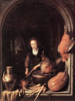 Woman Peeling a Carrot | Gerrit Dou | Oil Painting