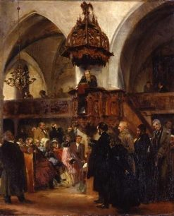 Preaching at the Altar of the Kloster Church in Berlin | Adolph von Menzel | Oil Painting