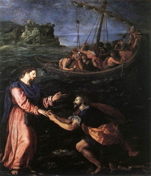 Saint Peter Walking on Water   Alessandro Allori   Oil Painting