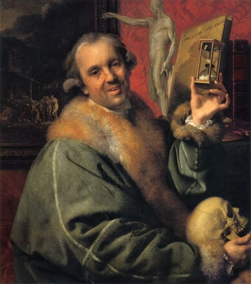 Self Portrait with Hour Glass and Skull | Johann Zoffany | Oil Painting