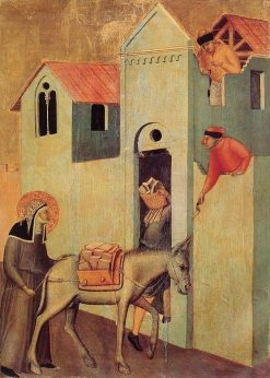 Beata Umilta Altarpiece: Beata Umilta Transports Bricks to the Monastery | Pietro Lorenzetti | Oil Painting