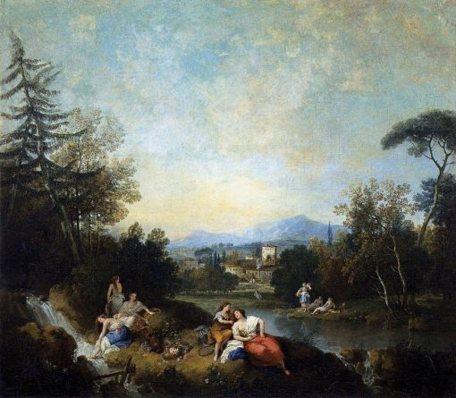Landscape with Girls by the River | Francesco Zuccarelli | Oil Painting