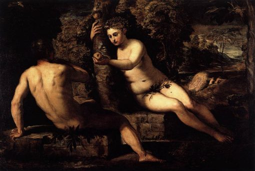 The Temptation of Adam   Tintoretto   Oil Painting