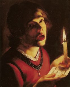 Singer with Candle | Trophime Bigot | Oil Painting