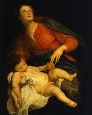 Madonna and Child   Anthony van Dyck   Oil Painting