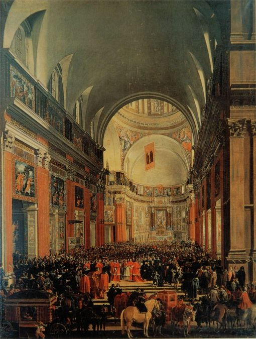 Urban VIII Visiting Il Gesù during the Centenary Celebrations of the Jesuit Order | Andrea Sacchi | Oil Painting